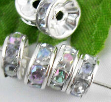 Free Ship 100pcs Silver Plated Crystal Spacer Beads 8mm AB