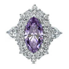 BERRICLE Sterling Silver Marquise Purple CZ Halo Right Hand Cocktail Ring