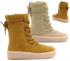 WOMENS FLAT LACE UP MILITARY COMBAT CHUNKY PLATFORM FAUX SUEDE ANKLE BOOTS SHOES