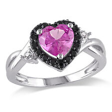Sterling Silver Created Sapphire and Diamond Accent Heart Ring