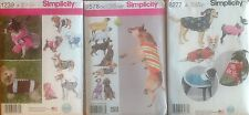 Simplicity 1239, 1578, 8277 Patterns  Dog Clothing Asst. Styles/Sizes You Pick!