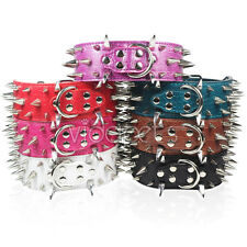 """18-22"""" 23-26"""" Leather Spiked Dog Collar Pitbull Bully Boxer Spikes Large L"""