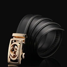 Hollow out Mens Quality Genuine Leather Business Dress Belt Auto Lock Buckle