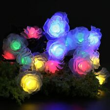 Solar Powered Rose Flower 20LED Fairy String Light Outdoor Garden Patio Lamp 4M