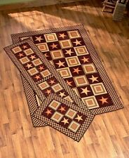 Rug Carpet Set Accent Area Runner Country Star Cabin Lodge Primitive Rustic NEW