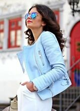 NEW ZARA PASTEL BLUE FAUX LEATHER BIKER JACKET WITH QUILTED SLEEVES 4341/023