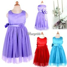Lovely Baby Kids Toddlers Girl Princess Big Bowknot Pleated Dress Outfit UTAR