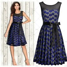 Women Vintage 1950's Ball Gown Evening Party Elegant Floral Lace Pleated Dress
