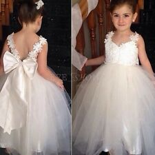 Flower Girls Princess Lace Dress Baby Kids Christening Wedding Party Formal Gown