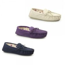 Mokkers LILY Ladies Genuine Suede Leather Comfort Slip On Moccasin Slippers