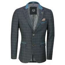 New Mens Vintage Blue Wool Blend Tweed Check Herringbone Blazer Designer Jacket