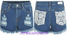 Womens Ladies Crochet Lace Back Pockets Denim High Waisted Hot Pants C18