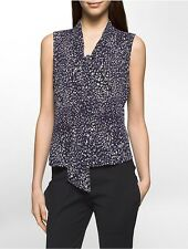 calvin klein womens brushstroke tie-neck sleeveless top shirt