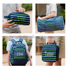 PERSONALIZED MONOGRAM BLUE & GREEN STRIPE 4 CHOICES BACKPACK DUFFEL LUNCH TOTE