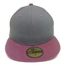 New Era Plain Tonal 59Fifty Fitted Hat GRAY w BURGUNDY Men's Blank Cap