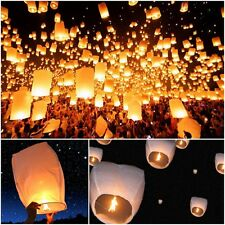 Sky Fire Fly Candle Lamp White Paper Chinese Lanterns Wish Party Wedding Lot 50
