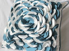 Polyester Two Tone Flower Petals Cushion Cover, Blue / White / Ivory