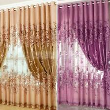 250*100cm Peony Beads Voile Living Room Window Tulle Sheer Curtain 4 Colors
