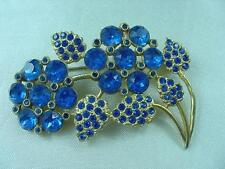 Art Deco Era Blue Rhinestones Figural Gold Plated Flower Spray Pin Brooch  #1645