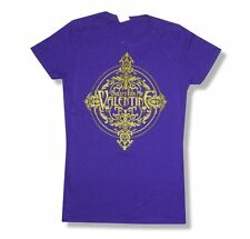 Bullet For My Valentine Gold Stamp Logo Girls Juniors Purple T Shirt New BFMV