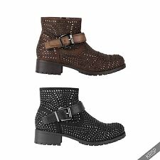 Womens Fashion Studded Ankle Biker Boots Low Heel Rock Punk Buckle Strap Shoes