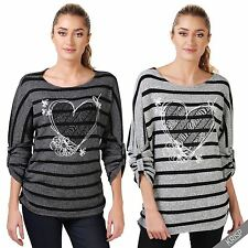 KRISP Womens Oversize Striped Valentines Heart Knit Sweater Ladies Sweater Top