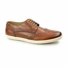 Base London PERFORM Mens Leather Casual Lace Up Brogue Shoes Trainers Snake Tan