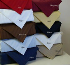 """400-Thread-Count 1PC Soft Fitted Sheet Striped 100%Cotton 34"""" Extra Deep Pocket"""