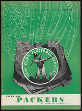 1952 Football PROGRAM New York Giants vs Green Bay Packers Vtg NFL Polo Grounds