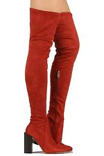 Cape Robbin Over the Knee Boots Rust Suede Chunky Heel Women's shoes Colorways