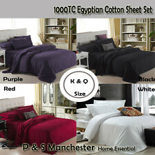 Brand New AUS Size 1000TC Egyptian Cotton Fitted Flat Sheet Set Pillowcases
