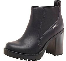New Ladies Womens Firetrap Chelsea Quill Heeled Ankle Boots Black UK 3 EUR 36