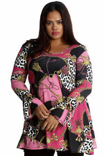 New Ladies Plus Size Tunic Women Top Animal Abstract Print V Neck Swing Nouvelle