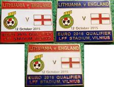 Lithuania v England Euro 2016 Qualifier Vilnius 12 October 2015 Pin Badge