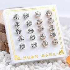 10 Pairs/Set Charm Crystal Earrings Silver/Gold Plated Zircon Ear Stud Jewelry