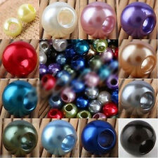 12-16mm Acrylic Faux Shiny Pearl Rondelle Large Hole Beads Charms Jewelry Making