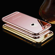 Luxury Aluminum Metal Ultra Thin Mirror Back Case Cover Skin For iPhone 4 5 6s