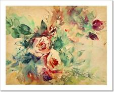 Watercolor Roses Painted On Paper Art Print/Canvas Print Home Decor Wall Art