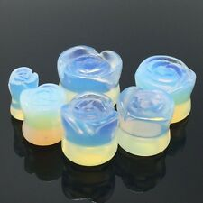 1pair 2g-16mm Rose Opalite Stone Ear Plug Gauges Expansion Earring Semi-precious