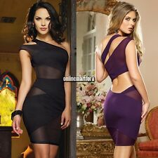 Sexy Women One Shoulder Open Back Mesh Cut Out Cocktail Evening Club Mini Dress