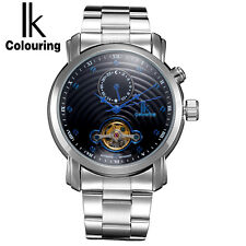 IK Gold Hollow Automatic Self Wind Mechanical Watches Sub Dial Luxury Men Watch