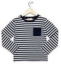 NEW Blue & White Striped Long Sleeve Boys Winter Top with Plain Pocket