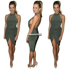Women's Sexy Backless Bodycon Asymmetric Sleeveless Halter Cocktail Party Dress