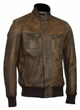 Mens Real Soft Leather Bomber Antique Brown Urban Fitted Jacket