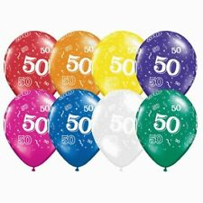 50th Birthday Balloons Jewel 1 x 28cm Balloon Decoration Party Supplies Blue Red