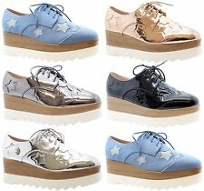 New Ladies Womens Platform Starred Flatform Lace Up Sneakers Trainers Shoes Size