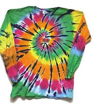 NEW TYE DIE ROCKING RAINBOW COLOR ADULT SIZE long sleeve TEE SHIRT LST-09 DYED