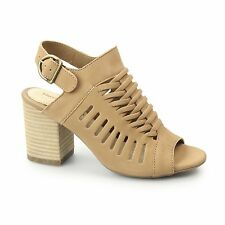 Hush Puppies SIDRA MALIA Ladies Nubuck Leather Slingback Heeled Sandals Tan