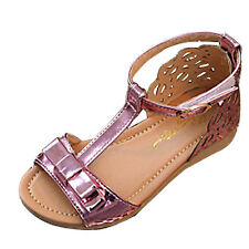 Kids Baby Girls Ankle Strap Sandals Children Faux Leather Flat Dress Shoes Party