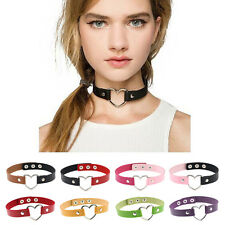 Women Favorite Punk Gothic Leather Rivet Heart Ring Collar Choker Funky Necklace